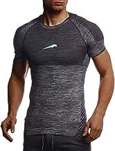 Leif Nelson Gym LN8307 Functioneel T-shirt voor heren, slim fit, naadloos, bodybuilder-trainingsshirt met korte mouwen, to...