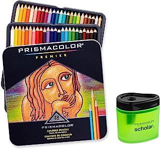 Prismacolor Premier 軟芯彩色鉛筆,一套 48 種顏色 (3598T) + Prismacolor Scholar 彩色鉛筆刀 (1774266)