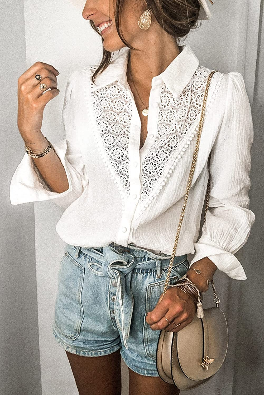 Women Cotton Floral Lace Hollow-Out Splicing Crinkled Shirt V Neck Lace Button Down Shirts Tops Loose Blouses