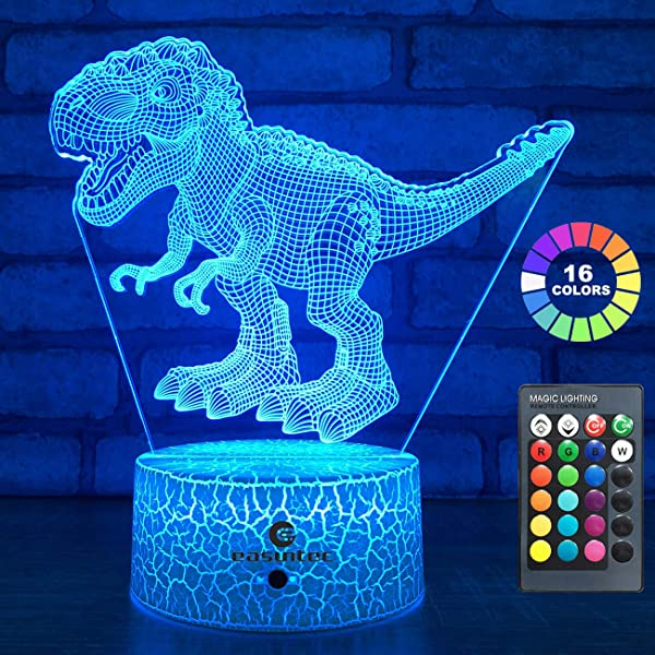 Easuntec Dinosaur Toys 3D Night Light With Remote Smart Touch 7 Colors 16 Colors Changing Dimmable TRex Toys 1 2 3 4 5 6 7 8 Year Old Boy Or Girl Gifts TRex 16WT