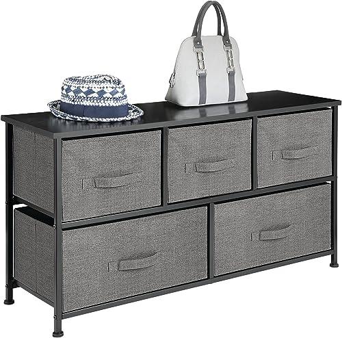 mDesign commode 5 tiroirs – table de chevet en tissu/métal/bois pour la chambre à coucher, chambre d'enfants, etc. – ...
