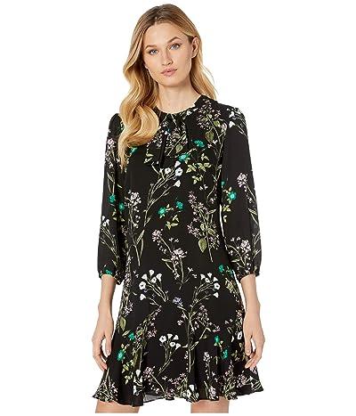 CeCe Winter Botanical Flounce Dress (Rich Black) Women