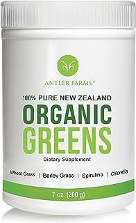 Antler Farms - 100% Pure New Zealand Organic Greens Superfood Powder, 50 Servings, 200g - Wheat Grass, Barley Grass, Chlorella, Spirulina - Vegan, Gluten Free, NO Pesticides, NO Chemicals, NO GMOs