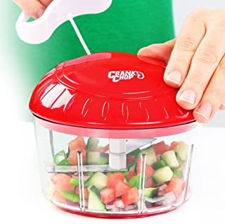 Crank Chop Food Chopper and Processor Original - Chop Dice Puree Vegetables Onions Tomatoes Garlic Meats and Nuts in Just Seconds for Delicious Meals - Perfect for Homemade Salsa