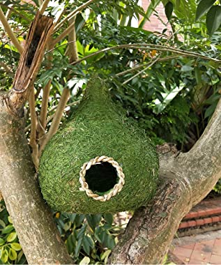 LWINGFLYER 1pcs Large Green Grass Birdhouse for Outside Hanging Bird Hut Bird Nest Cozy Resting Place for Birds 9.84inch/25cm