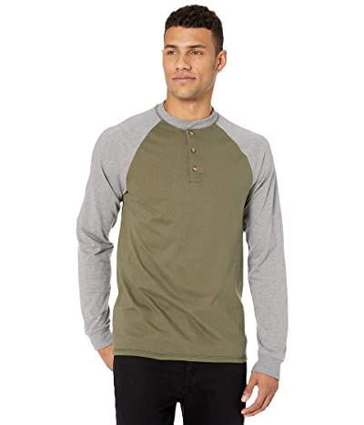 Hanes Beefy-T Long Sleeve Color Block Henley (Camouflage Green/Oxford Gray) Men