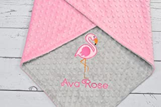 Personalized Flamingo minky baby blanket, Girls blanket, baby girls blanket