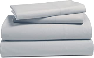 100% Cotton Bed Sheets Set: Breathable Bedding Sets with Flat Sheet, Deep Pocket Fitted Sheet and 1 Pillowcase - Soft and Comfortable Sheets Made with Pure Brushed Cotton - Twin, Silver