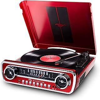 ION Audio Mustang LP   USB Plattenspieler mit Lautsprecher / Schallplattenspieler Retro mit Radio, Aux Eingang und Vinyl zu MP3 Kovertierungssoftware, roter Lack   ein Muss für alle Ford Mustang Fans
