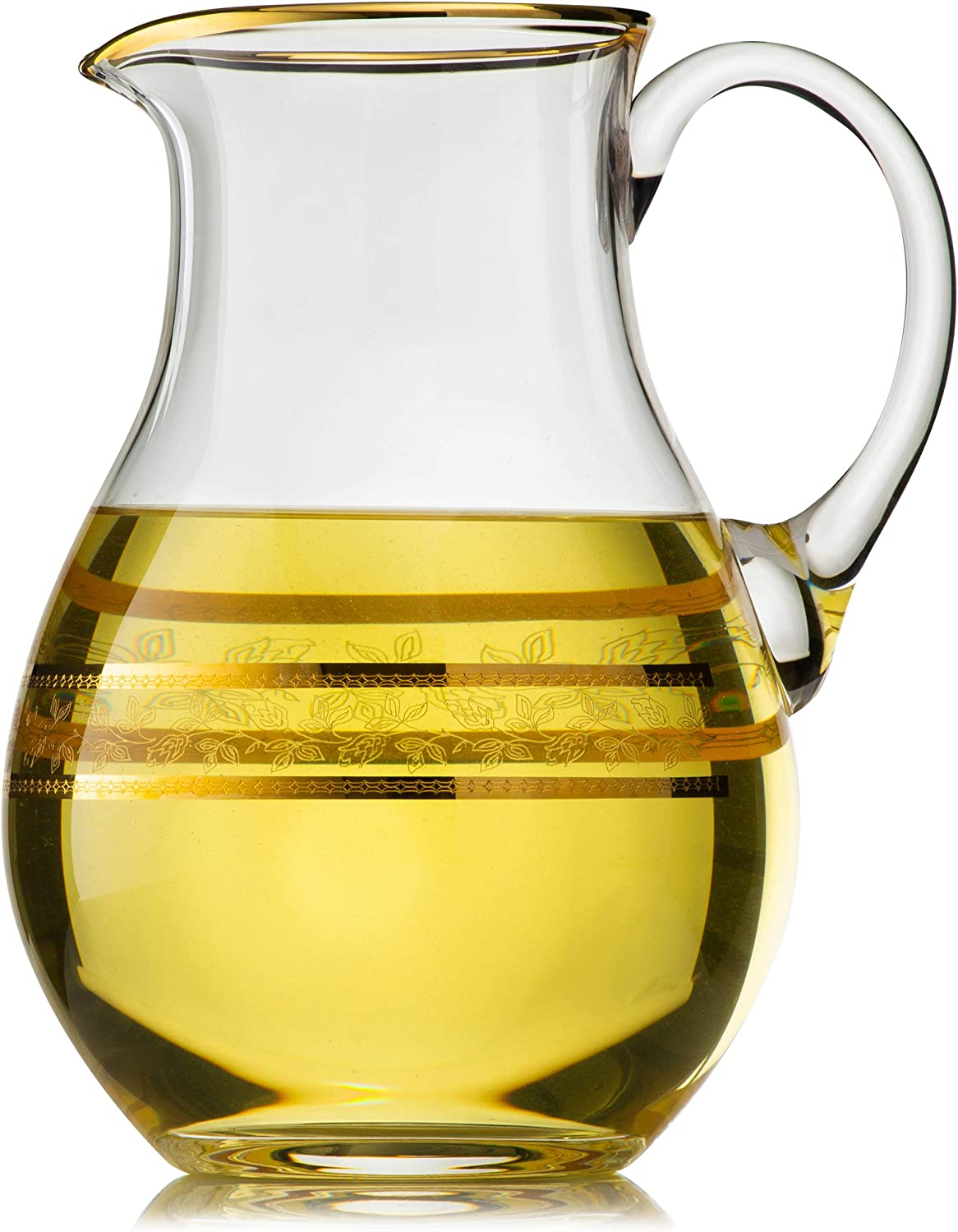 Large Crystal Glass Pitcher with gold Rim Decor   Classic, Elegant and Durable, Multi-Purpose Jar - Water, Mimosa, Sangria, Lemonade, Mix - Alexandra Collection - 50 Ounces 1500 Milliliters