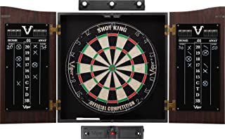 Viper Vault Cabinet & Shot King Sisal/Bristle Dartboard Ready-to-Play Bundle with Two Sets of Steel-Tip Darts, Throw Line,...