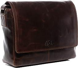 SID & VAIN Laptoptasche Messenger Bag echt Leder Spencer   Vintage-Look   XL groß Business 15 Laptop Umhängetasche Ledertasche Herren