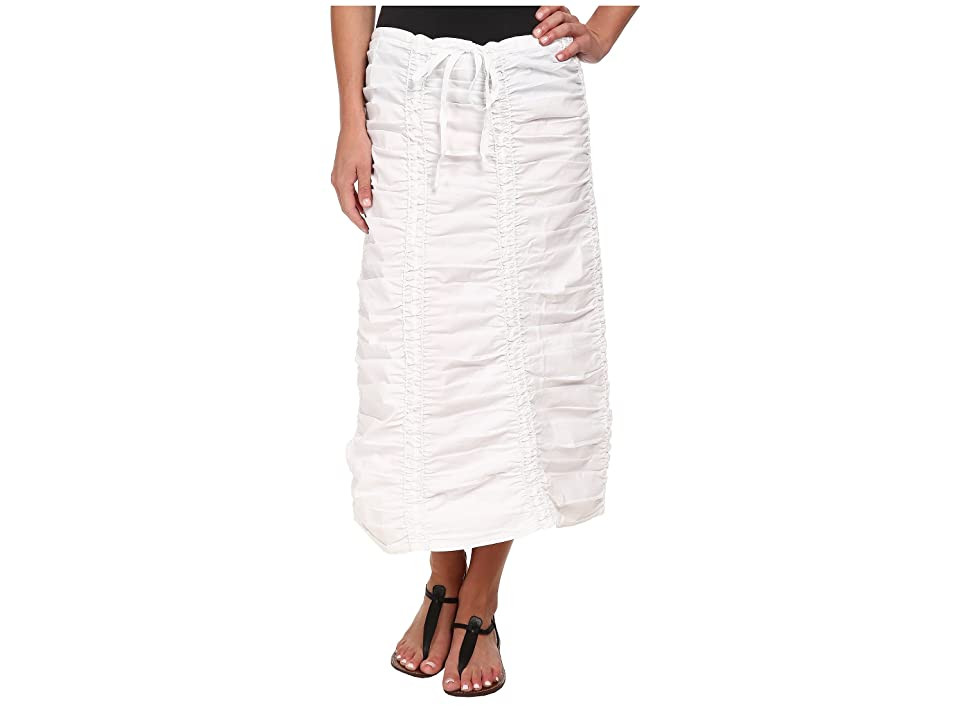 XCVI Stretch Poplin Double Shirred Panel Skirt (White) Women