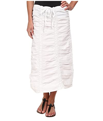 XCVI Stretch Poplin Double Shirred Panel Skirt (White) Women