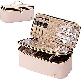 کیف آرایشی دو لایه NISHEL کیف لوازم آرایشی بزرگ مسافرتی ، سازنده آرایش برای بسیاری از برس ها ، کیف لوازم بهداشتی قابل حمل برای زنان و دختران ، صورتی