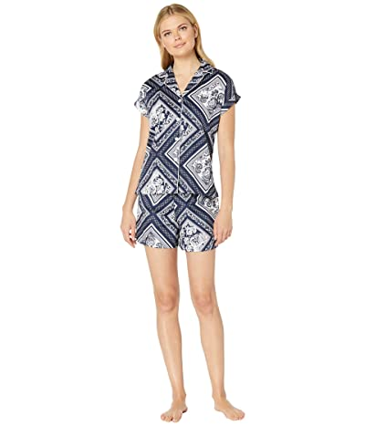 LAUREN Ralph Lauren Dolman Notch Collar Boxer Pajama Set (Navy Scarf Print) Women