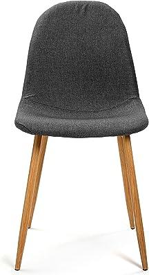 Versa 19840294 Chaise Simili Cuir Gris 86,5 x 44 x 52 cm