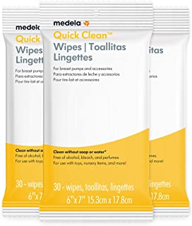 Medela Quick Clean Breast Pump & Accessory Wipes 90ct, 3 Pack of 30Count, Resealable, Convenient & hygienic On The Go Clea...