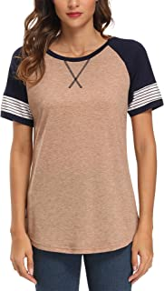 Dyefei IANWIND Women's Round Neck Color Block Tunic Tops Casual Short Sleeve T Shirt Blouse