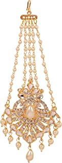 NEW! Touchstone Indian Bollywood Handcrafted Filigree Magical Look Rhinestone Kundan Polki Look Faux Pearls Hangings Head ...