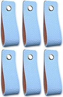 Tiradores de Cuero | Azul Claro / 6 piezas | 16,5 x 2,5 cm | Piel de Granos | 3 tornillos de color - tiradores para Accesorio de Mobilario, armario, cajón, puerta