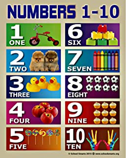 Numbers 1-10 Chart by School Smarts for Babies and Toddlers Fully Laminated Durable Material Rolled and SEALED in a Plastic Poster Sleeve for Protection. Discounts are in special offers section below.