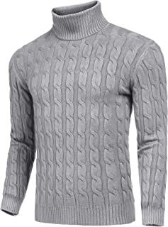 JINIDU Men's Slim Fit Turtleneck Sweater Casual Twisted Knitted Pullover Sweaters