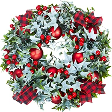 Christmas Wreaths for Front Door, MTSCE 18 Inches Berries and Red Plaid Print Christmas Wreath Decorations for Windows, Firep