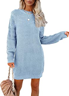 FUERI Womens Knitted Jumper Knit Dress Crew Neck Tunic Mini Length Loose Oversized Winter Autumn Knitwear Tops