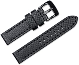 Replacement Leather Watch Band - Badass Carbon - Black - 20mm