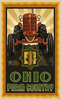 "Northwest Art Mall PAL-3019 TSC Ohio Farm Country Tractor Sunrise 11""X17"" Print by Artist Paul A. Lanquist"