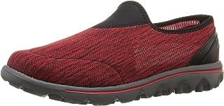 Propét Women's TravelActiv Slip-On Sneaker Oxford, Black/Red Heather, 10 Narrow
