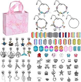 DIY Charm Bracelet Making Kit, 85 Pcs Bracelets Kit for Girls, Bracelets Making Supplies with Beads, Jewelry Charms, DIY C...