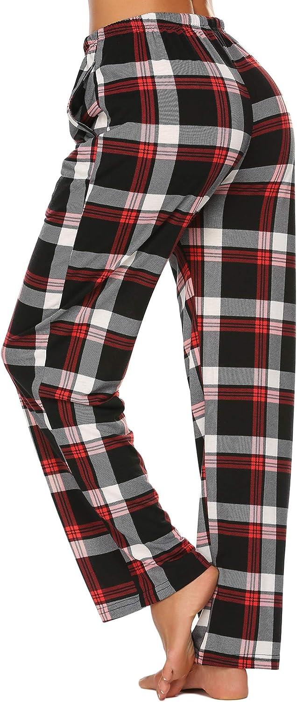 Ekouaer Women Lounge Pants Comfy Pajama Bottom with Pockets Stretch Plaid Sleepwear Drawstring Pj Bottoms Pants