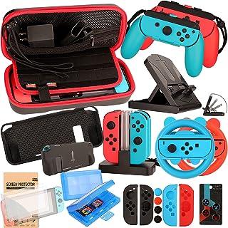 Kit de acessórios para Nintendo Switch Games, conjunto de bonés com roda para carregar, protetor de tela, carregador (17 e...