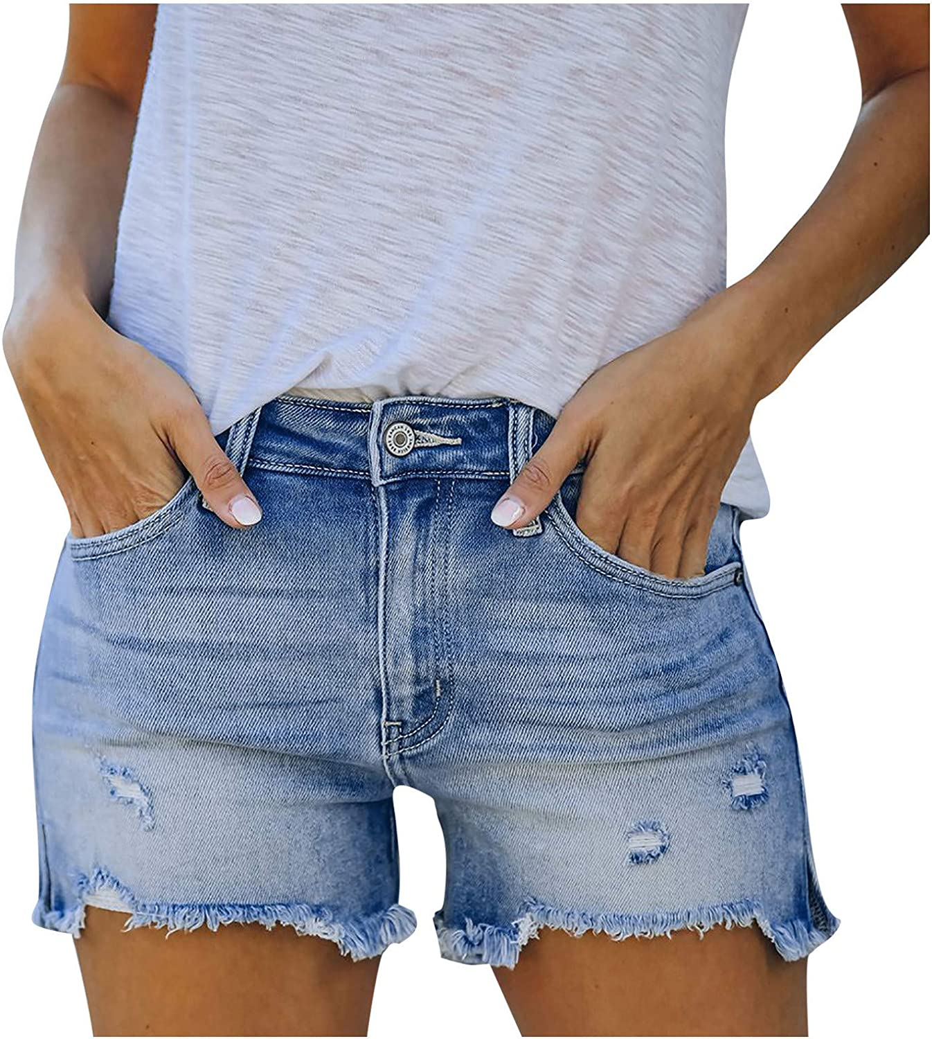 Fankle Womens Denim Shorts High Waisted Frayed Raw Hemline Ripped Distressed Hot Jeans