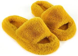 Womens House Slippers Cross Band Open Toe Soft Plush Fleece Bedroom Slippers Memory Foam Comfy Fuzzy Slip On Non-Slip