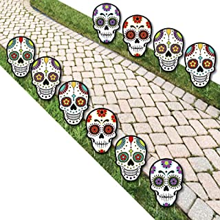 ديكورات الحديقة بيج دوت أوف ذا ديوت - جمجمة السكر الهيكل العظمي للحديقة - ديكورات ساحة الهالوين الخارجية - 10 قطع
