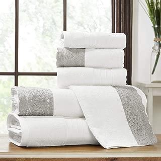 Amrapur Overseas 600 GSM 6-Piece Towel Set with Lace Hem, White/Silver