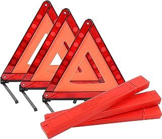 Yaekoo Triple Warning Triangle Emergency Warning Triangle Reflector Safety Triangle Kit Foldable Reflective Roadside Safet...