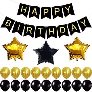 Happy Birthday Banner Set - Pack of 24 I Black and Gold Theme Decorations I Star Mylar Balloons I Birthday Decorations Sup...