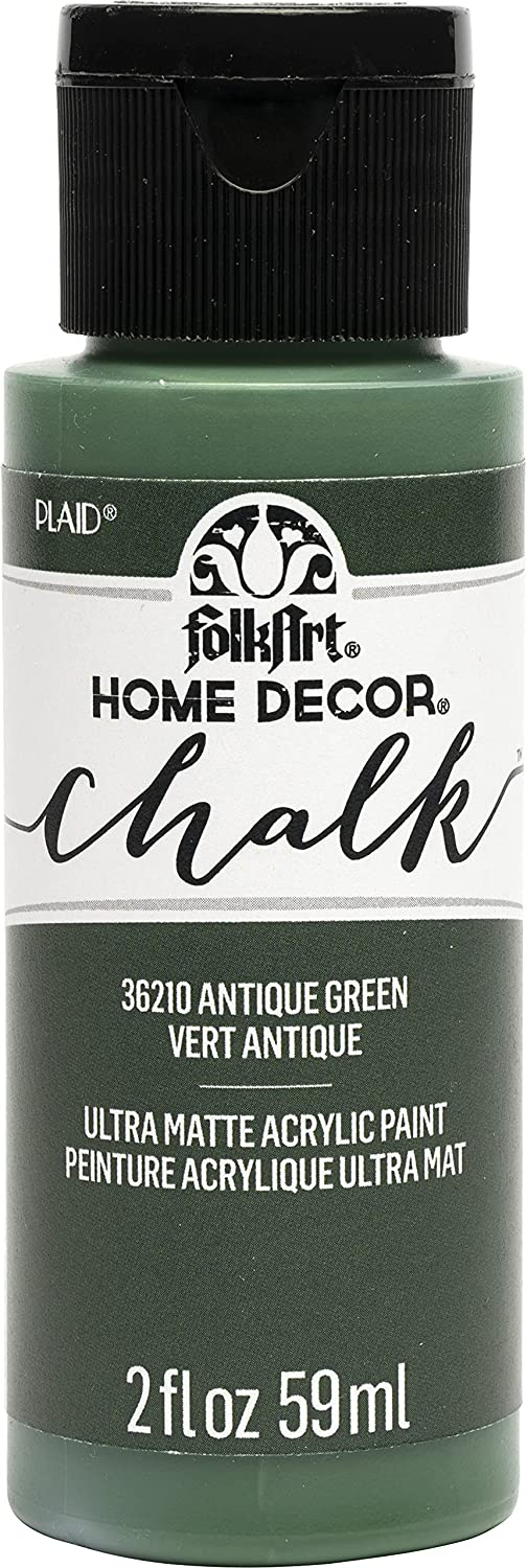 FolkArt Assorted Home Décor, 2 fl oz Acrylic Chalk Paint for Easy to Apply DIY Crafts, Art Supplies with an Ultra Matte Finish, Antique Green