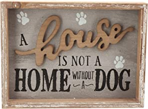 Parisloft A House is Not A Home Without A Dog Wooden Dog Signs for Dog Lovers|Rustic Wood Pet Sign Plaque 9.5x1.5x7''