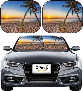 MSD Car Sun Shade Windshield Sunshade Universal Fit 2 Pack, Block Sun Glare, UV and Heat, Protect Car Interior, Image ID: 19829607 Tropical Beach at Beautiful Sunset Nature Background