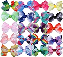 Boutique Hair Bow Rainbow 3 Inch to 8 Inch Hair Clips for Girls Toddlers Teens
