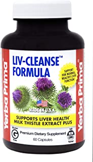 Yerba Prima Liv-Cleanse Formula - 60 Caps with 100mg of Milk Thistle Extract and Dandelion Leaf/Root