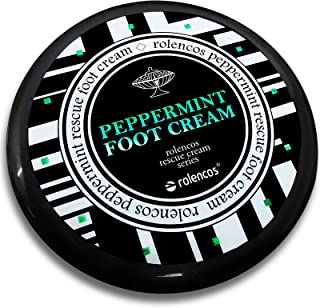 Rolencos Peppermint Cooling Foot Cream 4.20oz, Moisturizing, Callus Remover, Thick, Cracked, Rough, Dead and Dry, Hard Feet, Heels, Soles, Professional Foot Care Rescue Cream (Peppermint Foot Cream)