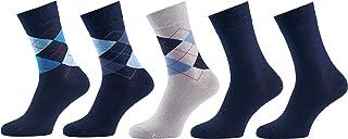Mat & Vic's Calcetines Clásicos de Vestir para Hombre y Mujer, Algodón, Certificado Oeko-Tex 100, cómodos (5 pares, Navy Mix 1, UK 12-15 / EU 47-50)