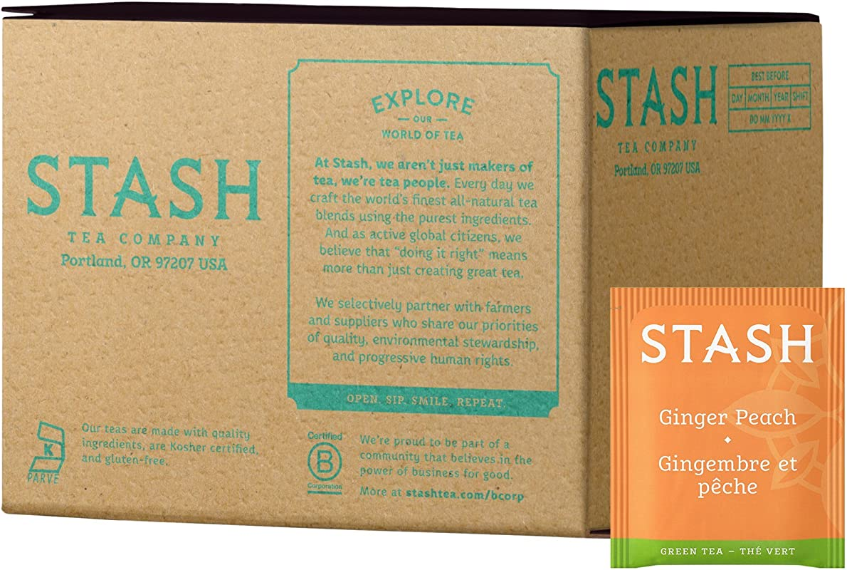 Stash Tea Ginger Peach Green Tea Matcha Blend 100 Count Tea Bags In Foil Packaging May Vary Individual Green Tea Bags For Use In Teapots Mugs Or Cups Brew Hot Tea Or Iced Tea