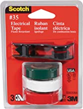 Scotch Electrical Tape 03835-BA-12, 3 pack of Green, White, and Red #35 Vinyl Electrical Tape with dispenser